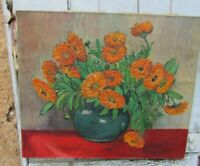 Vintage French Signed Still Life Sunflowers Oil on Canvas Painting 1958