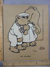 Rare Antique Original VTG Elephant & Bear Cecil Aldin Illustration Art Print