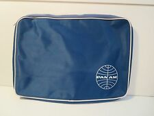Vintage Pan Am Airline Zippered Case Blue White Laptop Crew Bag A+++ RARE