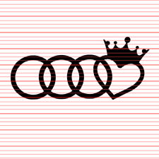 Audi Heart Crown Logo Emblem Sticker Decal Euro Love A4 A6 S4 S6 RS4 wagon