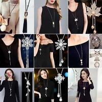 BG_ Fashion Women Crystal Rhinestone Pendant Long Sweater Tassel Chain Necklace