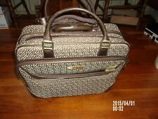 Anne Klein luggage w/ handle wheels pull behind GUC bronze tan carry-on