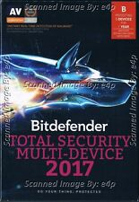 BITDEFENDER TOTAL SECURITY MULTI-DEVICE 2017 5 DEVICE 1 YEAR WIN/MAC/ANDROID NEW