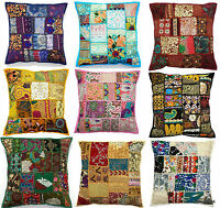 Handmade Vintage Patchwork Indian Ethnic Floor Pillow Boho Cushion Cover 50x50cm