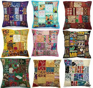 Handmade Vintage Patchwork Indian Ethnic Floor Pillow Boho Cushion Cover 50x50cm