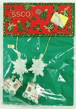 Vintage SSCO Snowflake Train Glitter Christmas Ornament Holiday Decoration