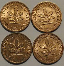1 Pfennig 1986 D F G J SET COMPLETO