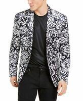 INC Mens Blazer Black Gray Large L Velvet Slim-Fit Floral Two-Button $149 052