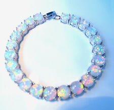 EXQUISITE WHITE FIRE OPAL SILVER BRACELET 7.5""