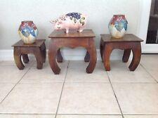3 VINTAGE SMALL OPIUM SHISHA SIDE TABLES  ORIENTAL IN SOLID HARDWOOD
