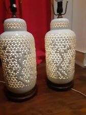 Pair Mid Century Monumental Blanc De Chine Reticulated Pierced Table Lamps