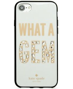 NIB KATE SPADE NY 'WHAT A GEM' JEWELED CREAM MULTI SNAP-ON iPHONE 7/8 CASE-$45