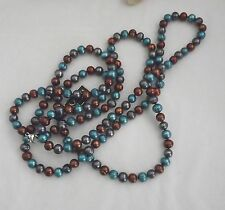 """NEW HONORA RINGED PEARL NECKLACE  54"""" DENIM BRIGHT TEAL/CHOCOLATE/PEACOCK 8MM"""