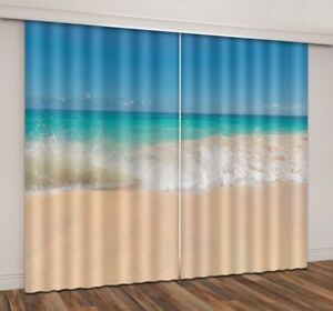 3D Curtain Blockout Drapes Fabric Window Decor Blue Sea Beach Photo Printing