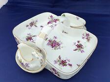Victorian violets strawberry basket with cream & sugar bowl