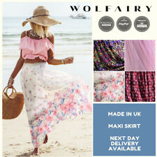 Wolfairy Womens Plus Size Maxi Skirt Chiffon Elastic Waist Summer Holiday Beach