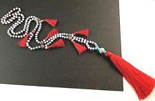 Long Dangle Red Tassel Gemstone & Natural Lava Beaded Necklace # 231
