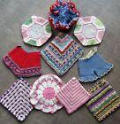LOT 11 Vintage Hand Thread Crochet Potholder Hot Pad Bloomers Washcloth Kitchen