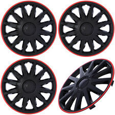 4pc Set Of 14 Inch Ice Black Red Trim Hub Caps Wheel Covers Cover Cap Hubcaps Fits Plymouth Breeze