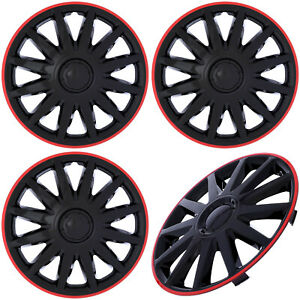 """4PC Set of 14"""" inch Ice BLACK / RED Trim Hub Caps Wheel Covers Cover Cap Hubcaps"""