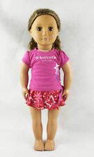 Fit For 18''American Girl Doll Clothes Star Pattern Swimsuit T-shirt Skirt #WW97