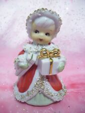 *Vintage Lefton Christmas Red Girl Angel Holds Gifts Bell Figure
