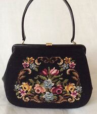 50s VTG LEATHER CARPET TAPESTRY NEEDLEPOINT BLACK FLORAL HAND BAG WEDDING