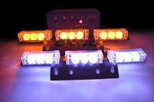 18 LED Emergency Vehicle Strobe Lights Deck Dash Grille Lightbars Amber White