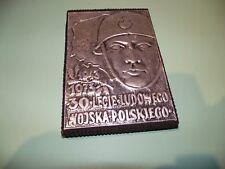 Plaque POLONAISE  etain sur bois 1943/1973 30 LEGIE LUDOWESGO WOJSKA POLSKIEGO