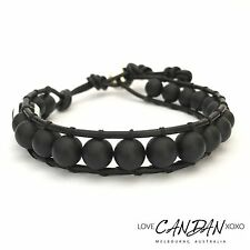 Evil Eye Matt Onyx Leather Wrap Bracelet For Men Unisex