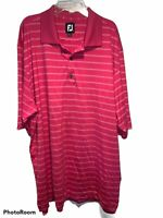 FootJoy FJ Men's Short Sleeve Red Striped Polo Shirt Polyester C5
