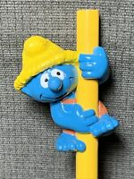 Rare Vintage Farmer Smurf PENCIL HUGGER TOPPER PVC Figure