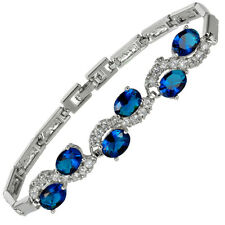 Melina Jewelry Rhinestone Oval Cut Blue Sapphire Tennis Statement Bracelet