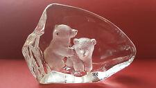MATS JONASSON POLAR BEAR CUBS CRYSTAL SIGNED PAPERWEIGHT  NO. 3714