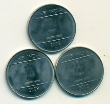 3 NICE 2 RUPEE COINS from INDIA (ALL DATING 2009 with MINT MARKS of B, C & H)