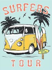 vintage surfing surf art print poster VW van tour palm tree painting Australia