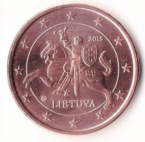 5 Euro Cent 2015 Lithuania Coin KM#207
