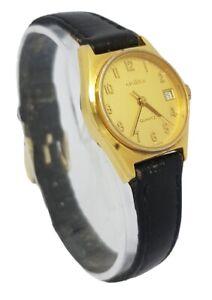 Ladies GRADUS Quartz Gold Tone Case Date Function Black Leather Strap Watch A11