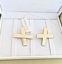 Authentic Versace Logo Cross X Earrings $375 Unisex with Certification Number