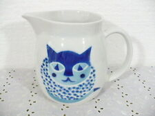 "Arabia Finland Huge 64oz / 8 cup White Pitcher w/ Blue Cat design 6-1/4"" tall"
