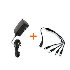 DC 12V 1A Power Supply Adapter for CCTV Security Camera with 1 to 4 way splitter