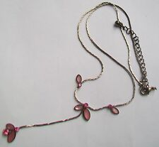 Delicate Pink Stones On Silver Tone Pendant Necklace