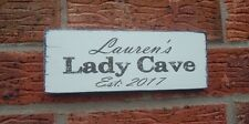 Personalised Lady Cave Sign Plaque Shabby & Chic Vintage Sign Gift Idea Any Name