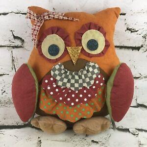 Owl Plush Harvest Autumn Colors Patchwork Stuffed Animal Sofa Pillow