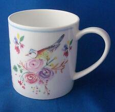 Coffee mug cup Rose of England blue tit song bird spring flowers