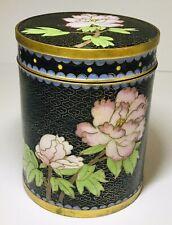 Vintage Chinese Enameled Brass Cloisonné Lidded Box Floral 4�. (1880).