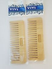 2 Anti Static Hair Comb Beard Comb Natural Bamboo Wooden Hairdressing Unisex