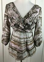 BCBGMAXAZRIA Silk Blouse Multi-Color V-Neck 3/4 Sleeve Tie-Back Lined Women's M
