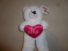 New W Tag Valentines Day White Hug Bear Plush Sugar Loaf Happy Day Red Heart Toy