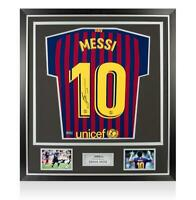 Lionel Messi Official Back Signed Barcelona 2018-19 Home Shirt In Classic Frame